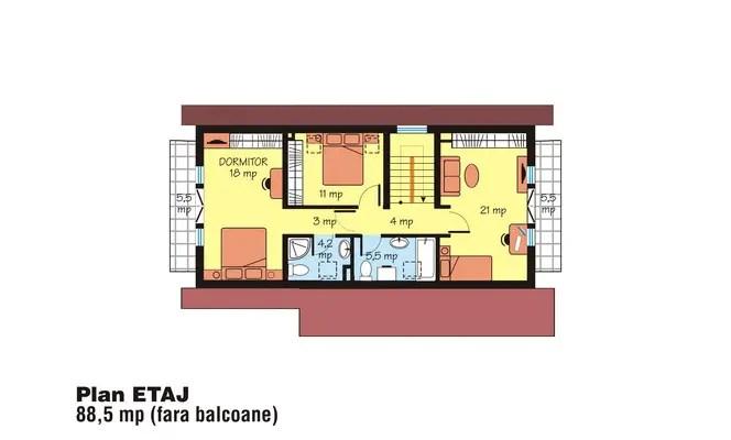 case medii pe doua nivele Medium sized two story house plans 8