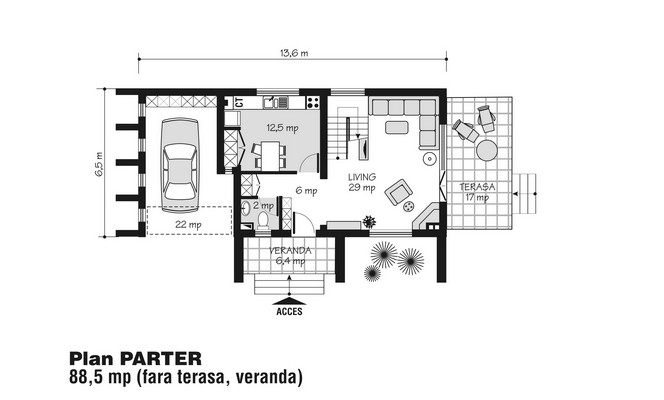 case mici cu etaj si mansarda Three story house plans 3