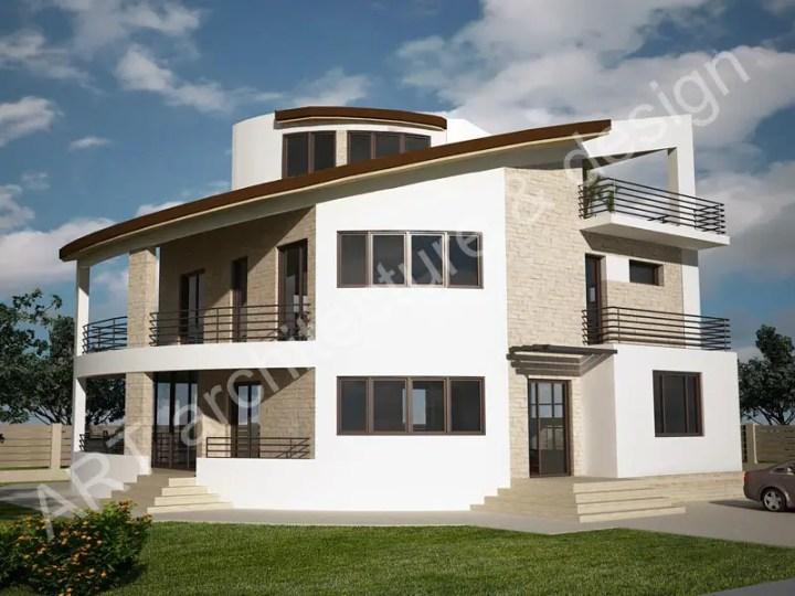 Case mici cu etaj si mansarda - design circular