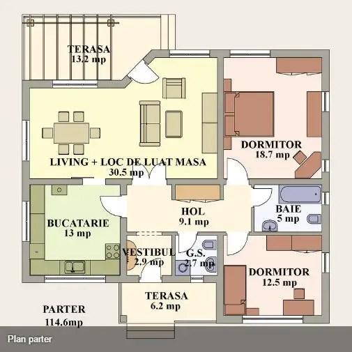 case cu doua dormitoare Two bedroom single story house plans 11
