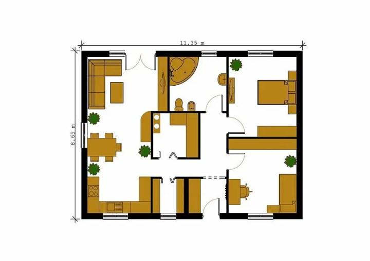 case cu doua dormitoare Two bedroom single story house plans 3