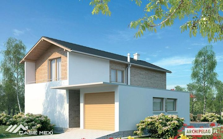 case cu etaj si garaj integrat Two story flat roof houses with garage 10