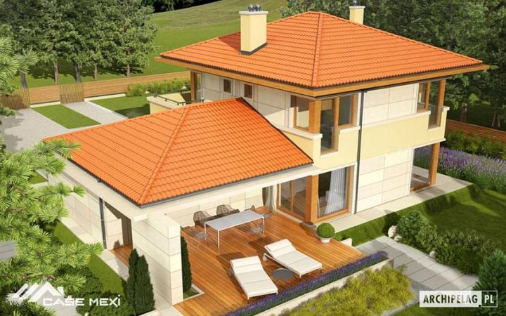 case cu etaj si garaj integrat Two story flat roof houses with garage 7