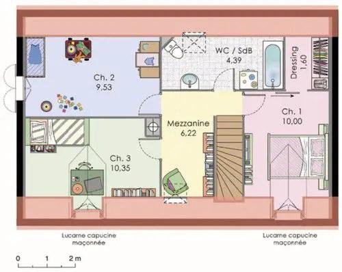 case simple cu mansarda plan etaj casa vila Franta