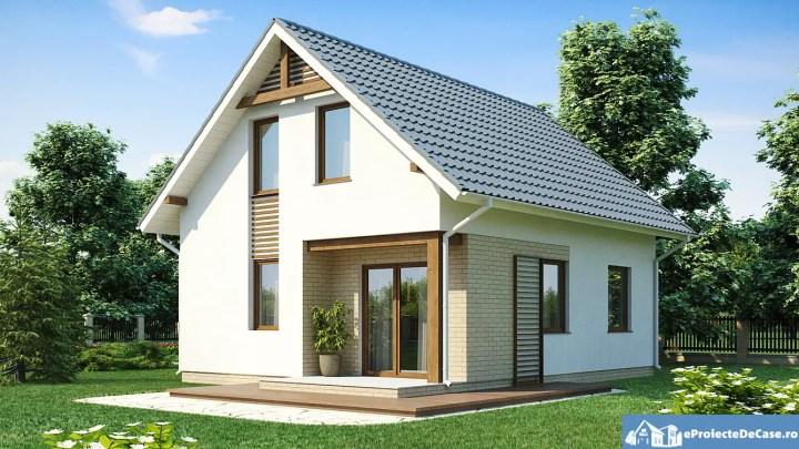 case simple cu mansarda din lemn si piatra