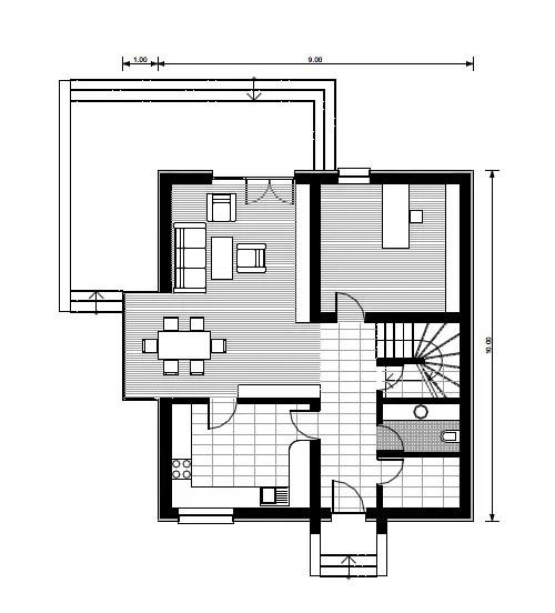 case mici cu trei dormitoare 1 plan parter