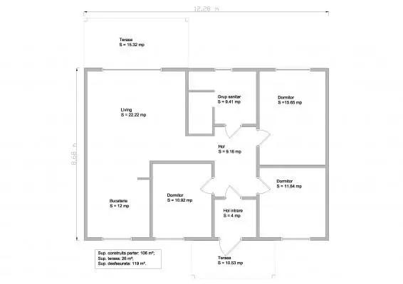 case mici din lemn si osb 2 plan