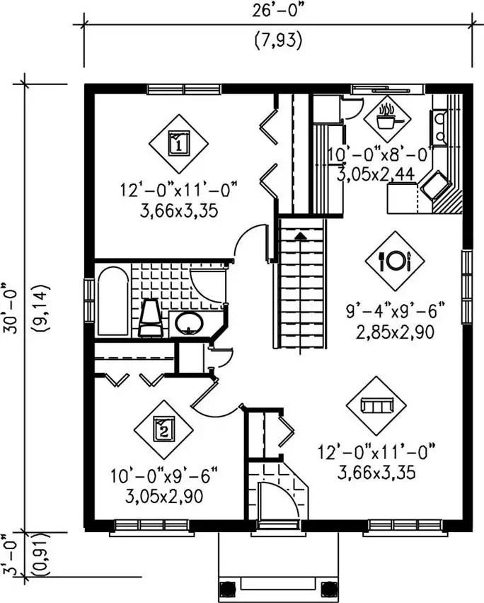 case mici intre 60 si 80 de metri patrati 1 plan