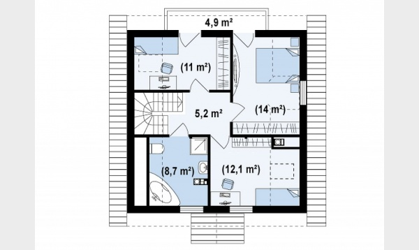 case pe terenuri de 400 de metri patrati 2 plan mansarda