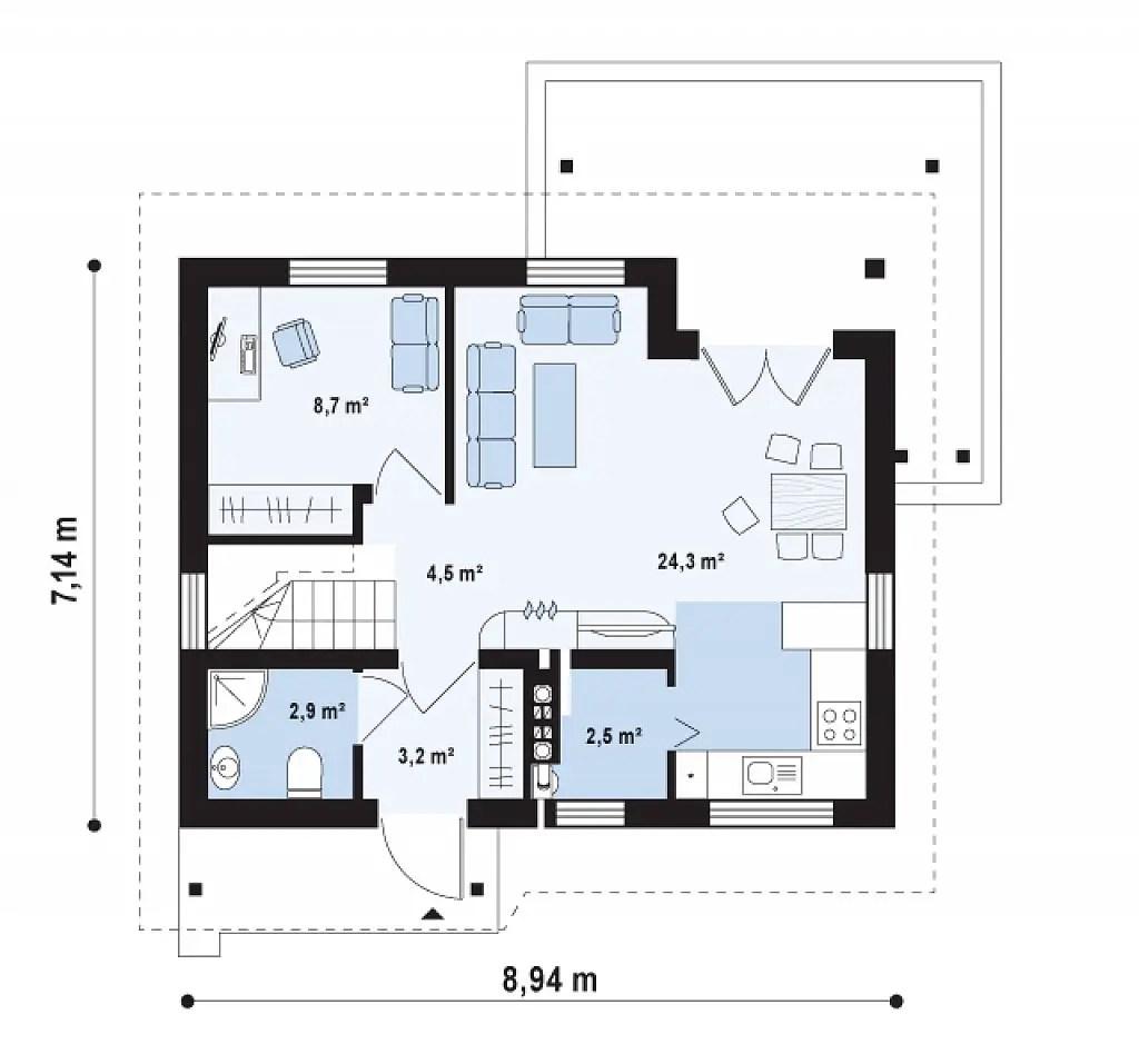 Proiecte de casa cu parter si mansarda locuinte for Proiect casa 2 camere living baie si bucatarie