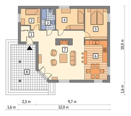 proiecte de case economice 3 dormitoare plan