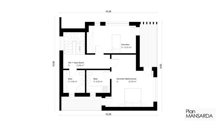 case cu mansarda pentru tineri 3 plan mansarda