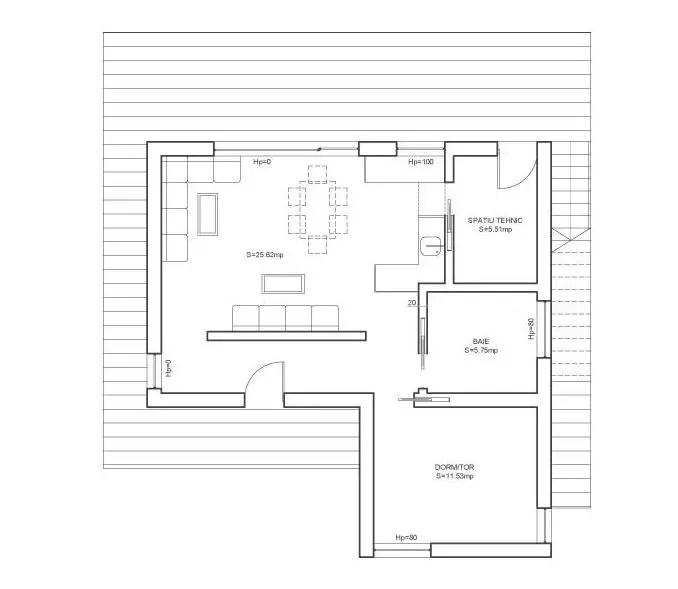 case cu un singur dormitor 2 plan