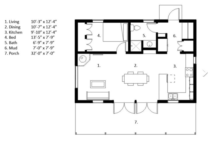 case cu un singur dormitor