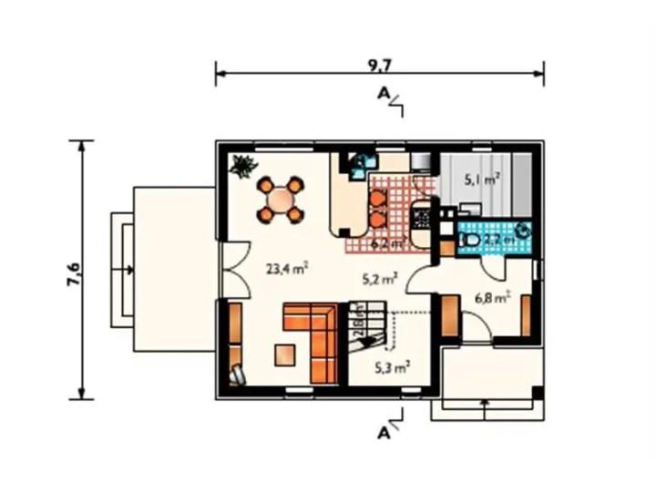 case cu mansarda pentru o familie cu un copil