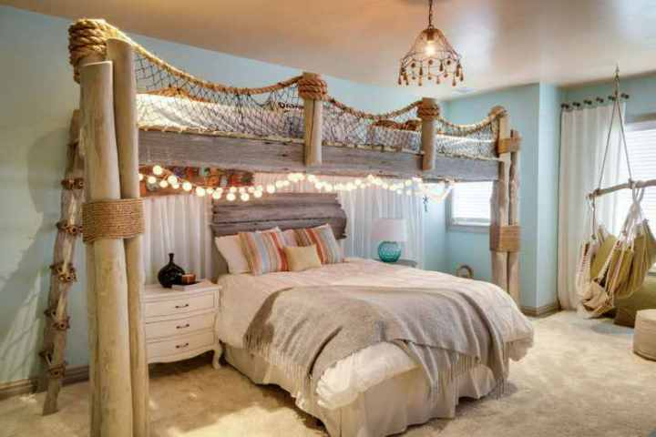 dormitor cu tema marina