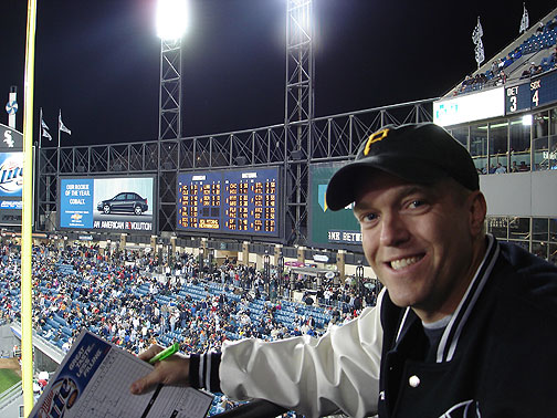 Sporting my Pirates hat at US Cellular Field in Chicago.