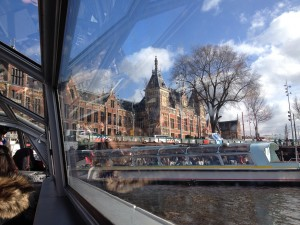 View of Amsterdam Centraal from the canal
