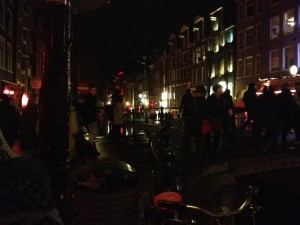 De Wallen red light district at night
