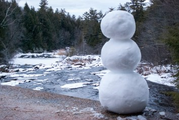 Dam on the Contoocook river. Snowman by me.