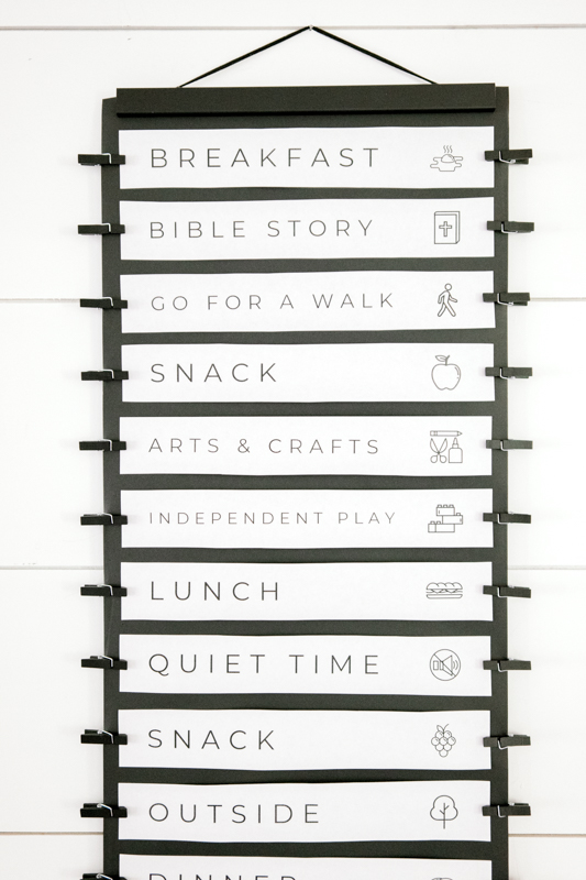 Daily Activity Schedule hanging on wall