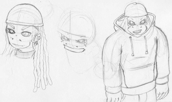 Sketches of G and Nick from Fish 'n' Chimps back in the days where I still needed to work at drawing posture.