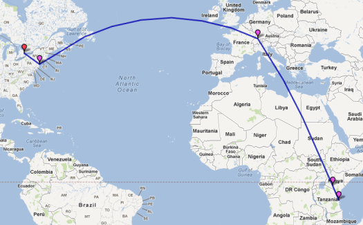 The flight path that Sarah and I will be taking to get to Tanzania