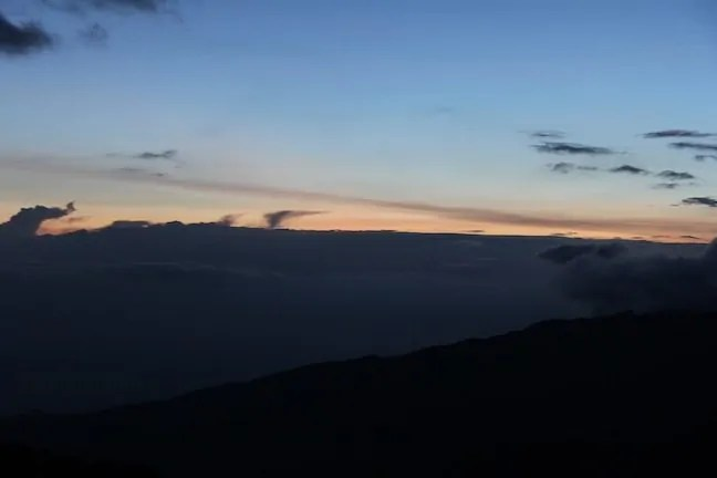 A sunset marred by clouds at Shira Two Camp