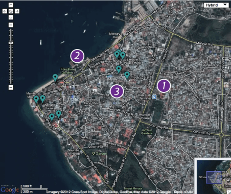 A map of Stone Town indicating the points of interest for my story