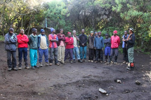 The team of Maasai Wandering porters who helped us reach the summit of Mount Kilimanjaro and back!