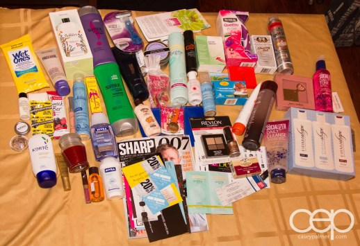 The contents of the loot bags obtained at the end of The Big Give.
