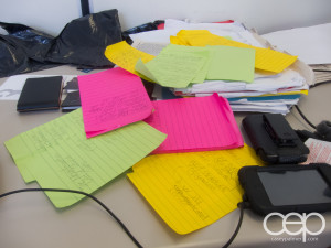 """The method of madness I use to come up with posts: 4"""" x 6"""" Post-it notes"""