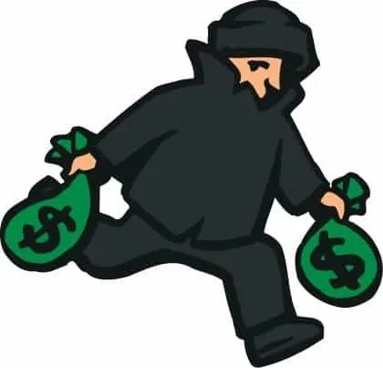 A cartoon of a robber stealing bags of money