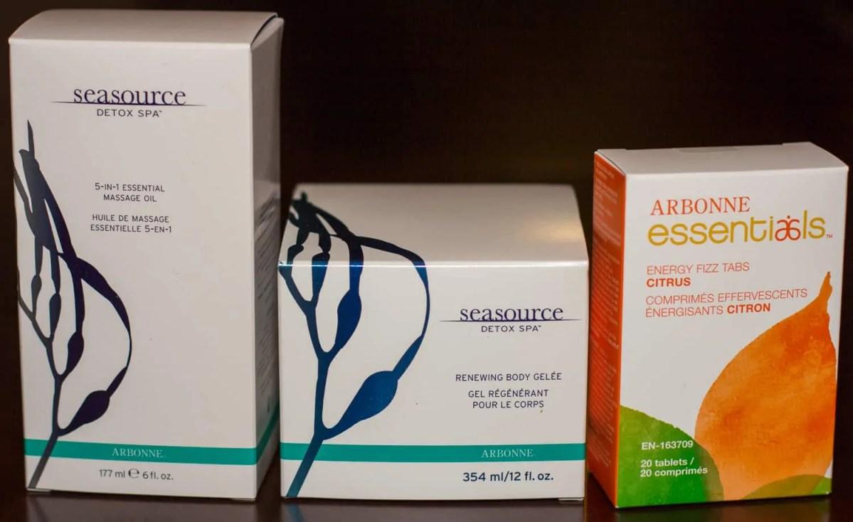 Left to right: Arbonne Seasource Detox Spa 5-in-1 Essential Massage Oil; Arbonne Seasource Detox Spa Renewing Body Gelée; and Arbonne Essentials Energy Fizz Tabs Citrus