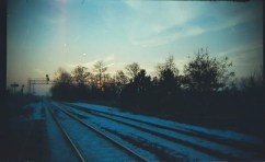 An early morning shot of some train tracks in Mississauga