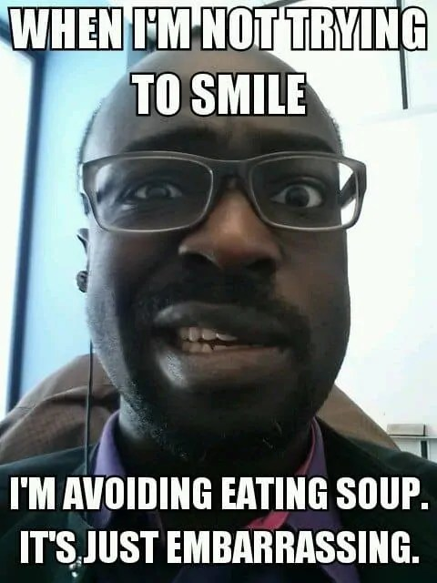 A meme of me with Bell's Palsy
