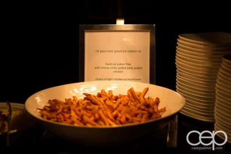The 2014 Corvette Stingray Canada Reveal — Gourmet Poutine Station — hand cut yukon fries with cheese curds, pulled pork, pulled chicken; choice of light chicken or mushroom gravy