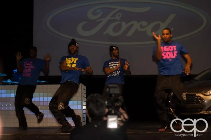 The Mayhem Dance Group getting funky on the stage at the 2013 Ford Blue Party
