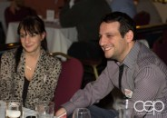Valerie Stachurski and Dan Levy conversing at Table 18 at Mysteriously Yours... Mystery Dinner Theatre