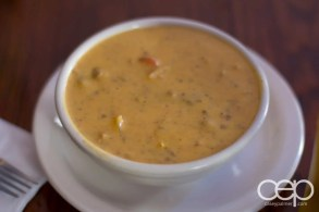 The soup of the day at Grover's on February 9, 2013: Cheeseburger Soup.