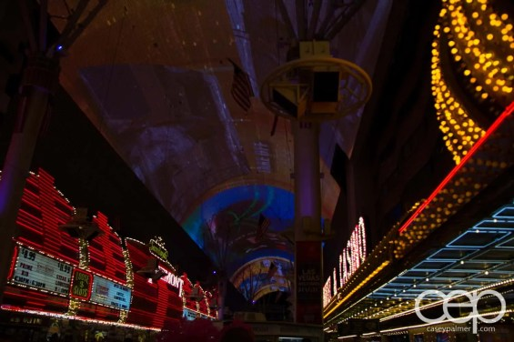 The unlit 90' x 1500' canopy above Fremont Street in old Las Vegas