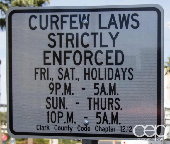 A sign of curfew laws that are strictly enforced in Las Vegas.