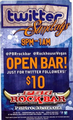 Flyer for the PBR Rock Bar's Twitter Sundays in Las Vegas