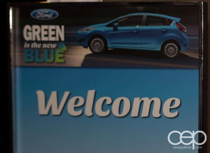 The sign at the entrance of the Ford Blue Party