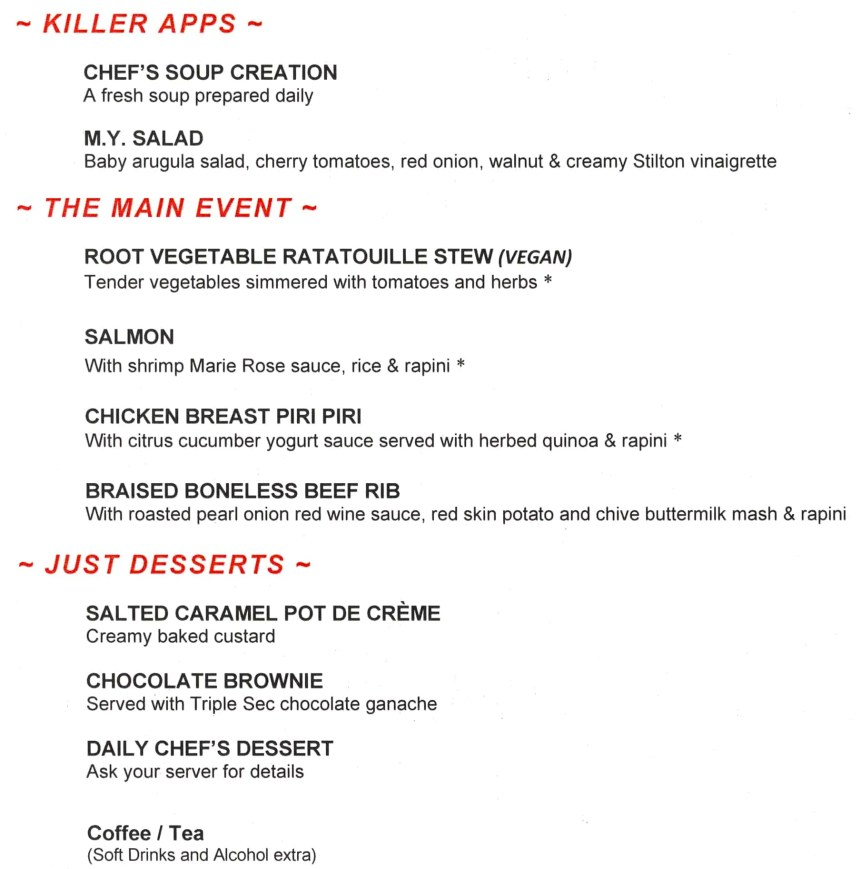 The menu for the night at Mysteriously Yours... Mystery Dinner Theatre