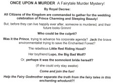 """The premise behind Mysteriously Yours... Mystery Dinner Theatre's """"Once Upon a Murder"""""""