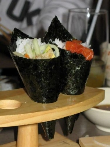 A couple of hand rolls at Maki Maki in Mississauga, ON