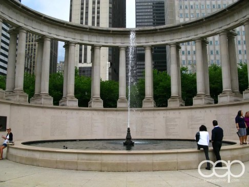 The Wrigley Square fountain in Chicago, IL