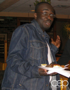 Me at the farewell party for St. Hubert Bar-B-Q in 2005 with a full denim outfit.