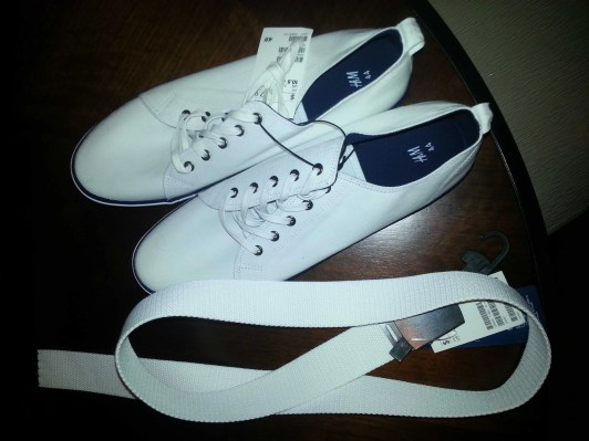 The white shoes and belt I got for the White Party coming up at Bloggers in Sin City!